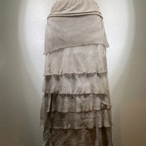 Made in Italy Silk tiered Maxi Skirt Sz M NWT
